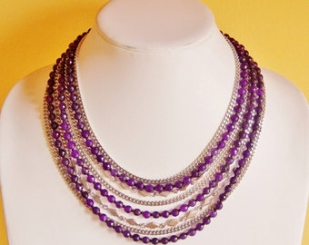 Reclaimed Amethyst necklace, statement necklace, eco friendly jewelry, purple necklace, recycled upcycled repurposed, big chunky necklace
