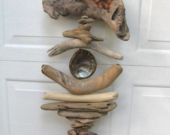 Driftwood Mobile With Rainbow Abalone Shell-DC1117