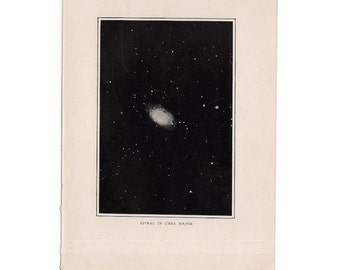 1909 ANTIQUE spiral NEBULA LITHOGRAPH in ursa major original antique celestial astronomy print
