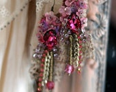 Belle epoque-- romantic lightweight bohemian earrings, hand beaded