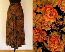 Vintage 1980's Orvis Skirt / Woodrose / 80's Ikat Floral Midi Skirt / Black, Olive & Brown