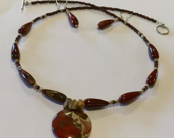Red Poppy Jasper Pendant Necklace and Earring Set
