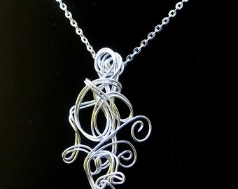 Silver Pendant Necklace, Womens Silver Wire wrapped Jewelry, Silver Wire Wrap Statement Jewelry One of a Kind