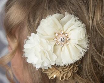 Ivory gold hair clip, gold flower clip, shiny gold, wedding flower girl, birthday gift, cream flower clip, girl hair clip, bridal hair clip