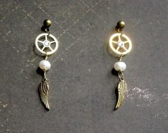 Steampunk Winged Messenger Earrings Watch Gears Wings Pearls Brass
