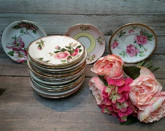 GORGEOUS Collection of Gold Rimmed English Rose Floral Tea China Plates Set of 20