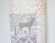 Baby Girl Quilt-Woodland Bedding-Modern Patchwork-Gray-Grey-Pink Baby Blanket