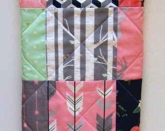 Baby Quilt-Modern-Crib Bedding Baby Girl-Navy Blue-Mint-Pink-Gray-Grey--Woodland-Buck-Antler-Arrows-Chevron Patchwork-Baby Blanket