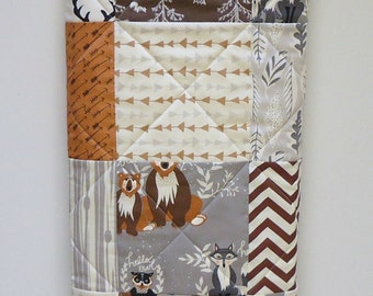 Camo Baby Boy Quilt-Modern Baby Bedding-Rustic Birch Fabric-Hello Bear Fabric-Arrows-Gray-Buck-Stag Baby Blanket