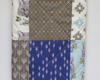 Fox Quilt-Baby Boy-Modern Woodland Patchwork-Aqua Blue-Charcoal Gray-Grey-Animal Baby Blanket-Fox Nursery