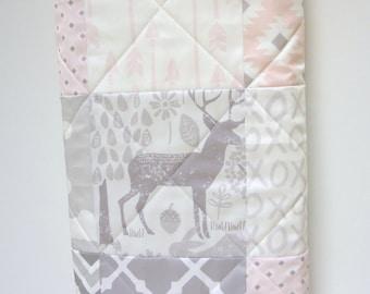 Baby Girl Quilt-Woodland Bedding-Modern Patchwork-Gray-Grey-Pink Baby Blanket