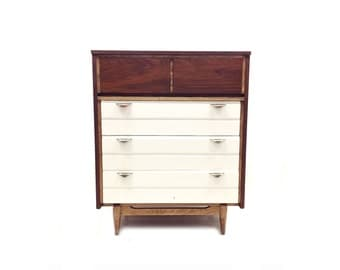 Vintage Highboy In Wood and White