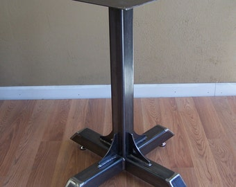 Bistro Cafe Table Base Heavy Duty Industrial Steel Pedestal with Gussets