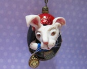 Alice in Wonderland White Rabbit Ornament Egg Art