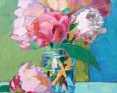 "Pink Peonies painting, 11""x14"""
