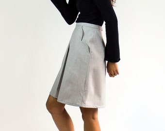 Scallop Box Pleat Skirt / Dolphin grey scallop pocket skirt - Office wear / Sustainable ethical fashion