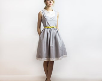 Ginger New Look Dress / Dolphin Grey garden party dress / Sustainable fashion - New collection