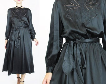 Vintage Black Silk Dress Embroidered Bow Cutwork Dress Cut Out Long Sleeve Black Dress Secretary Knee Length Belted Silk Dress (XS/S) E300