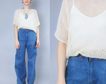 1980s Mesh Tshirt Top Fishnet Cut Out Sheer Top Cream Sweater Cream Crochet Top Minimalist Layering Top Womens Swim Coverup Fishnet Tee (M)
