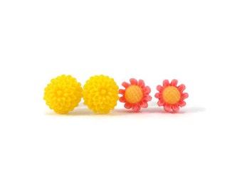Cute Stud Earring Set, Yellow Flower Earrings, Pink Flower Earrings, Earrings for Sensitive Ears, Tween Jewelry, Tween Girl Gifts Under 20