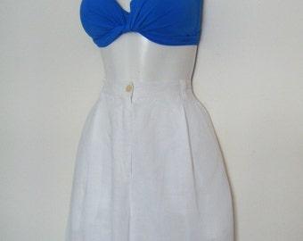 1990s high waist BERMUDA SHORTS by Ralph Lauren 100% linen culottes flowy skirt style, size m