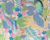 Vintage 80s Tropical Fabric with Parrots 7.5 yards