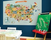 USA Map - Peel and Stick Fabric Poster Sticker