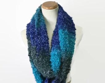 Blue Infinity Scarf, Knit Scarf, Knit Infinity Scarf, Fashion Accessory, Snood, Knit Cowl, Loop Scarf, Gift For Her