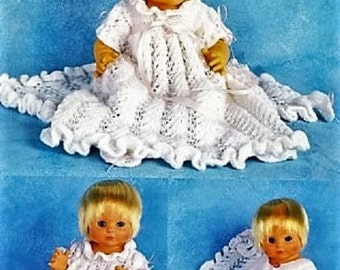 Doll Knitting PATTERN - 5 piece  Layette set including Christening Dress, Jacket and Booties
