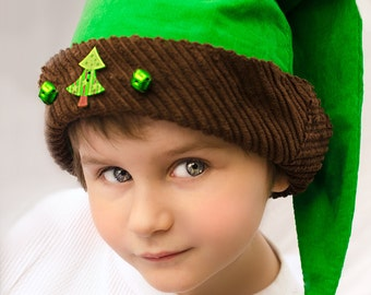 Christmas Elf Hat Jingle Bells for Christmas Holiday,  Kids Personalized Christmas Elf Hat Jingle Bell Hat Elf Cap in green & brown for kids