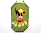Bee on Daisy Sign, Handpainted Wood Wall Hanging, Hand Painted Primitive Home Decor Wall Art, Tole Decorative Painting