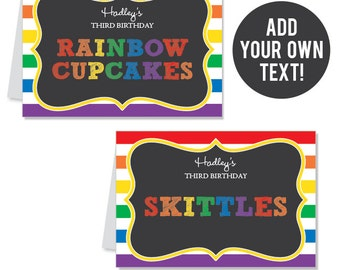 INSTANT DOWNLOAD Chalkboard Rainbow Party Buffet Cards - EDITABLE Printable File