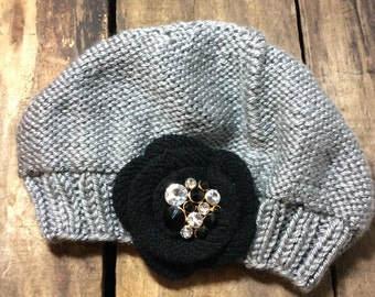 Grey Knit Baby Girl Hat - Black Flower with Vintage Jewelry Piece - Size 6-12 Months Plus