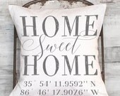 Housewarming Gift, Wedding Gift, New Home Gift, Coordinates Pillow Cover, Longitude Latitude Pillow Cover