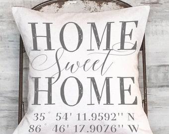 Housewarming Gift Wedding Gift GPS Coordinates Gift Longitude and Latitude Personalized Pillow Cover