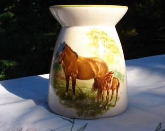 Beautiful Mare with Her Foal Ceramic Tea Light Tart Burner