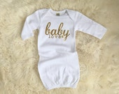 Baby love gold glitter baby gown | take me home outfit | take home outfit | baby sleep sack | baby sleep dress | infant gown | swaddle