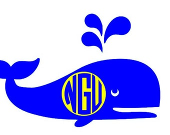 Large Whale with monogram vinyl decal