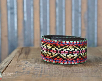 CUSTOM HANDSTAMPED CUFF - bracelet - personalized by Farmgirl Paints - colorful stitched pattern cuff