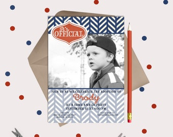 Boy Adoption Invitations / Announcement · Navy Blue & Orange