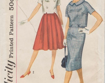 Simplicity 2836 / Vintage 50s Sewing Pattern / Skirt And Top / Size 14 Bust 34