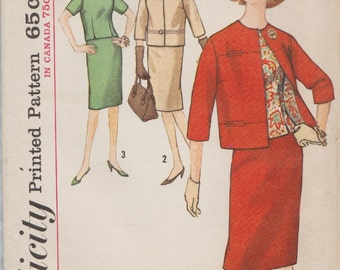 Simplicity 5144 / Vintage 1960s Sewing Pattern / Skirt Jacket Blouse overblouse Suit / Size 16 Bust 36