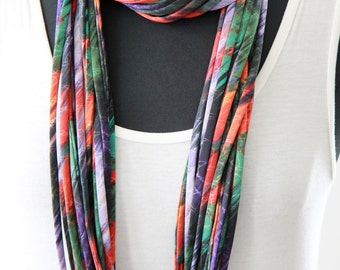Infinity Scarf Necklace, Loop Scarf, Fabric Necklace, Circle in Blue, Green, and Red