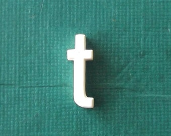 white letter t. vintage letter t. lowercase letter t. lower case t. personalized name. initial. small letter. miniature letter. home decor