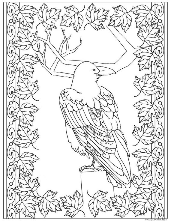 Adult Coloring Page Raven Framed in Autumn by Krislyndillard