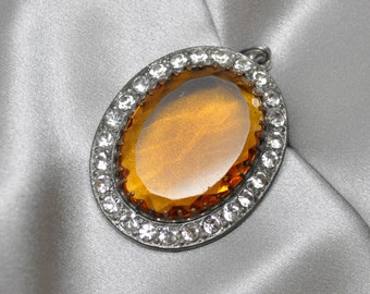 Large Vintage Pot Metal Paste Pavé Set Oval Pendant with Faux Topaz Glass Stone Silver Toned