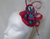 Cerise Fuchsia Pink and Turquoise Blue Pheasant Curl Feather Sinamay & Pearl Fascinator Mini Hat - Made To Order