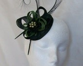 Black and Olive Green Pheasant Curl Feather Sinamay Loop & Pearl Fascinator Mini Hat - Made To Order
