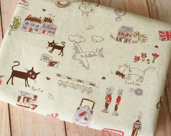 Brown Cats Journey Cotton Linen blend fabric quarter