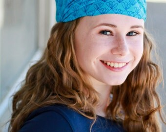 Post Surgery Gift Extra Wide Headscarf Post Op Head Wrap Blue Lightweight Headscarf Boho Headwrap Trendy Headbands (#2211) S M L X